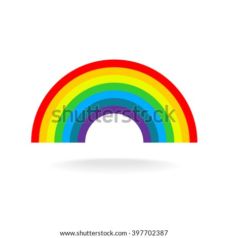 Rainbow symbol. Seven flat colors. Isolated on a white background. - stock vector