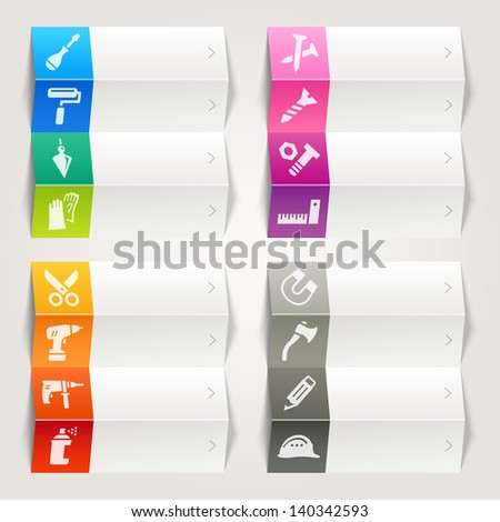 Rainbow - Tools and Construction icons / Navigation template - stock vector