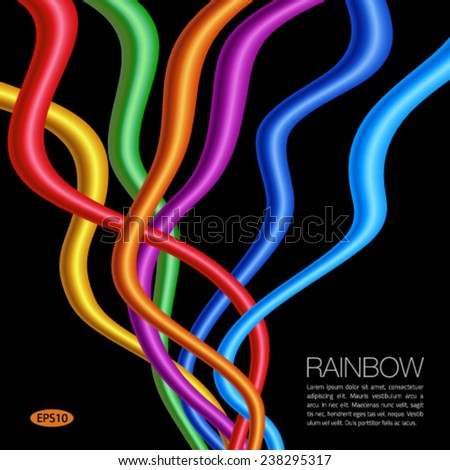 Rainbow Twisted Bright Vibrant Wares on black background, vector illustration - stock vector