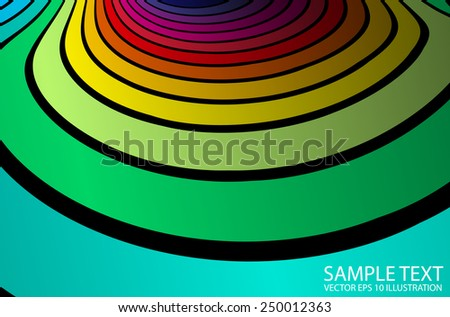 Rainbow vector abstract background illustration - Abstract  curved vector rainbow color striped template - stock vector