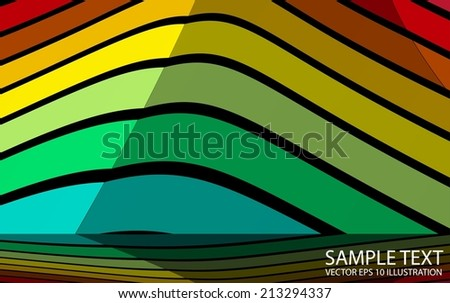 Rainbow vector background abstract illustration - Vector colorful abstract striped  background template reflected - stock vector