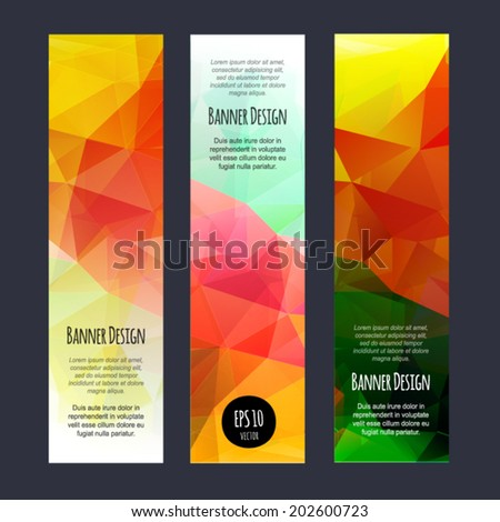 Rainbow vertical business banners with abstract polygonal geometry background. Vivid colorful invitation. Mosaic modern flyer. Bright design layout. Bright fashion template. - stock vector