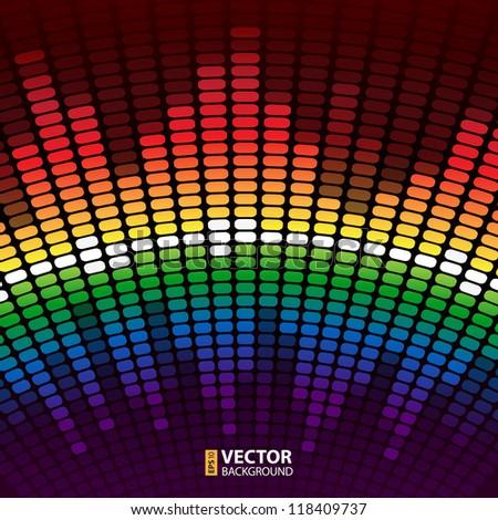 Rainbow warped digital equalizer vector background - stock vector