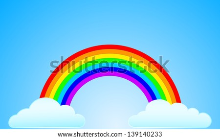 rainbow with clouds - stock vector