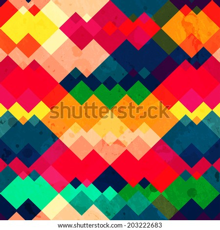 rainbow zigzag seamless texture with grunge effect - stock vector