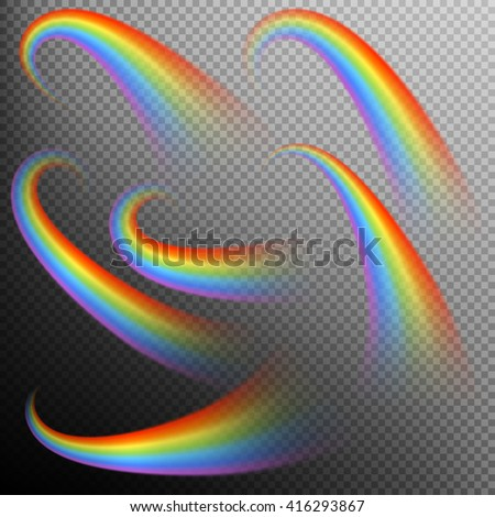 Rainbows in different shape realistic set on transparent background. EPS 10 vector file included - stock vector