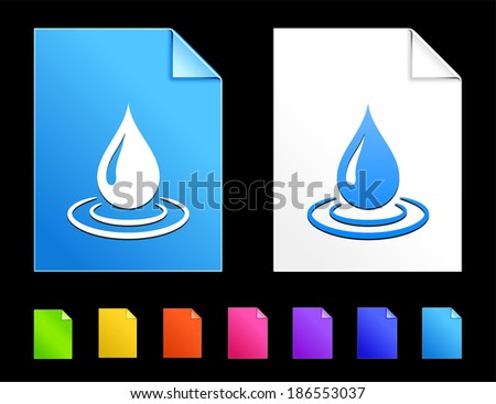 Raindrop Icons on Colorful Paper Document Collection - stock vector