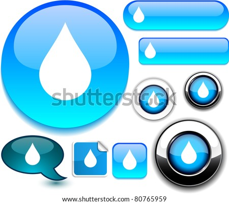 Raindrop vector glossy icons. - stock vector