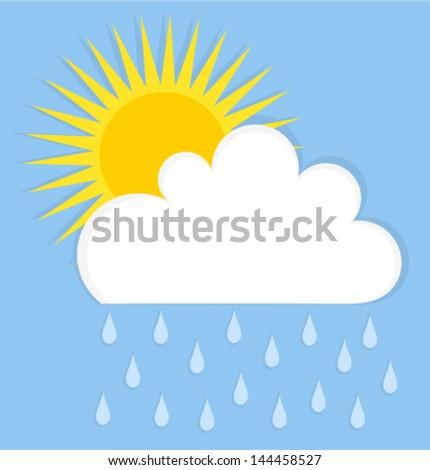 Raining cloud and sun. Summer sky vector illustration - stock vector