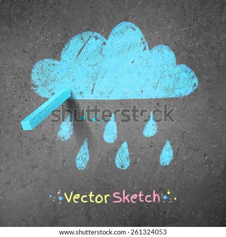 Rainy cloud drawn on asphalt background. Peace of blue chalk. Vector illustration. - stock vector