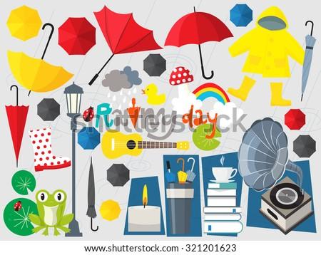 rainy day illustration,umbrella set,rainy season,rain,rain fall,forecast - stock vector