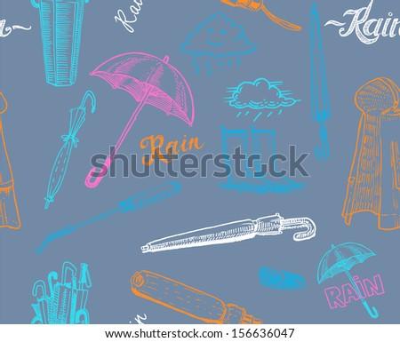 rainy day seamless pattern - stock vector