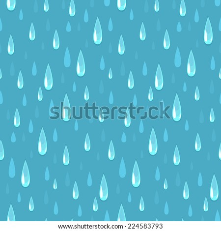 Rainy day. Vector seamless pattern featuring raindrops. - stock vector