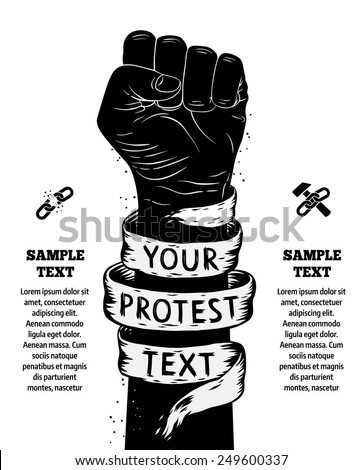 Raised fist held in protest. Vector illustration - stock vector