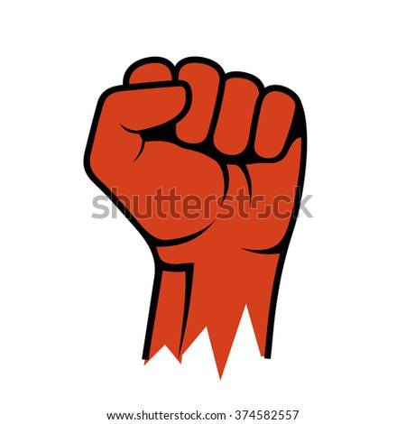 Raised Fist Icon. Hand Protest Strike Fight. Vector - stock vector
