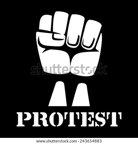 Raised fist, sign of protest and revolution. White clenched fist raised up on a black background. Vector illustration - stock vector