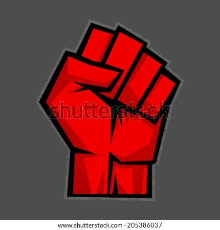 Raised fist vector icon - stock vector
