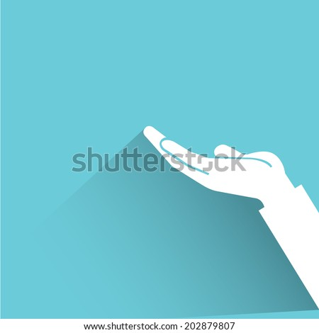 raised hand, request concept, blue shadow and flat theme - stock vector