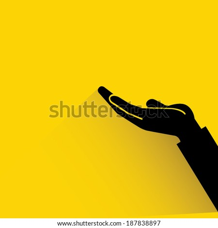 raised hand, request on yellow background, shadow and flat style - stock vector