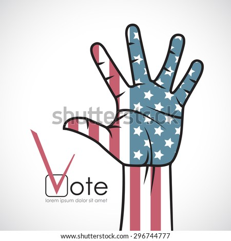 Raised hand with the American flag. Voting. - stock vector