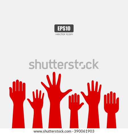 Raised hands icon, vector poster - stock vector
