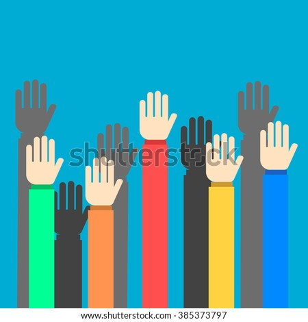 Raised hands on blue background flat style - stock vector