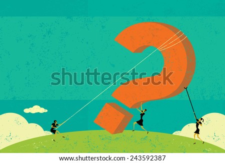 Raising a Question Businesswomen raising a big question mark. The women and background are on separate labeled layers. - stock vector