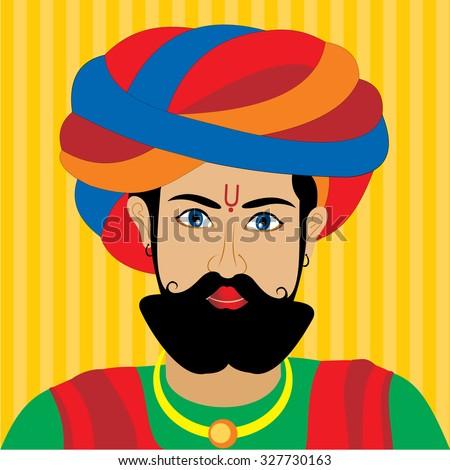 Rajasthani Man Painting - stock vector