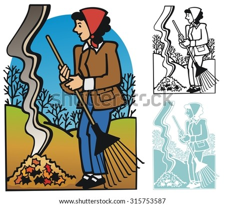 Raking fall leaves - stock vector