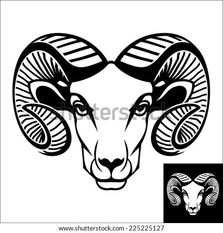 Ram head logo or icon in black and white. This is vector illustration ideal for a mascot and T-shirt graphic. Inversion version included. - stock vector