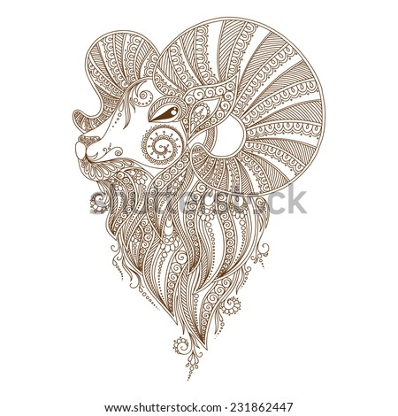 Ram's head. Symbol of the new year. Christmas. Mehendi style - stock vector