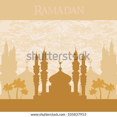 Ramadan background - mosque silhouette vector card - stock vector