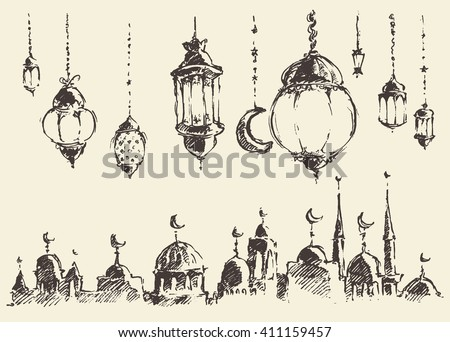 Ramadan celebration vintage engraved illustration, hand drawn - stock vector