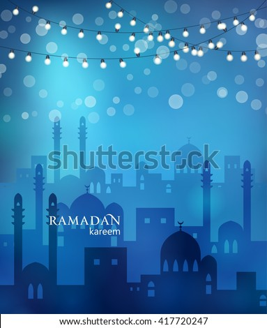 Ramadan greetings background. View of arabian city with mosque in blue night background with shiny lights. Vector illustration - stock vector