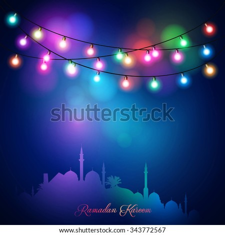 Ramadan Kareem arabic calligraphy for islamic greeting - Translation of text : Ramadan Kareem - May Generosity Bless you during the holy month - stock vector