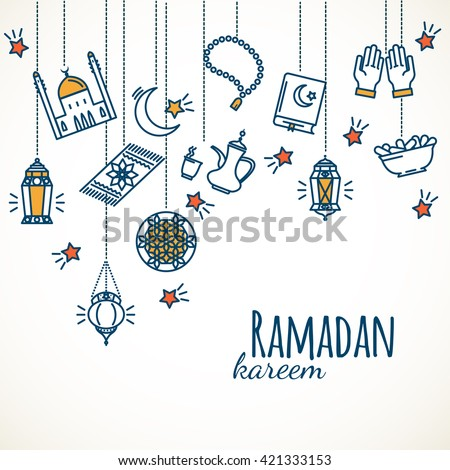 Ramadan Kareem background. Arabians line icons set. Vector illustration  - stock vector