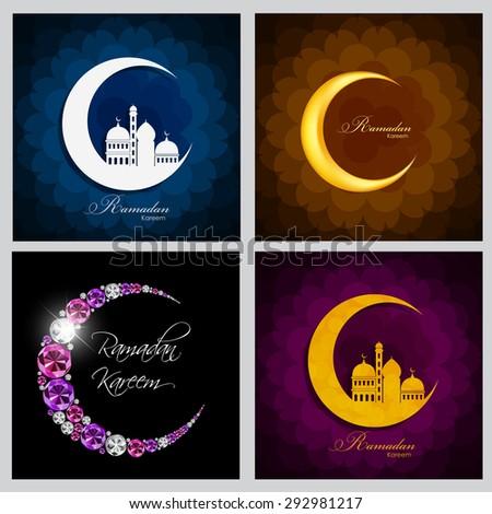 Ramadan Kareem Background Collection Set Design. Vector Illustration EPS10 - stock vector