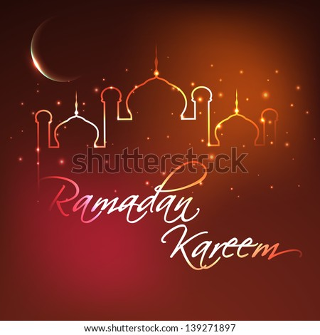 Ramadan Kareem background with illuminated Mosque or Masjid and shiny moon. - stock vector