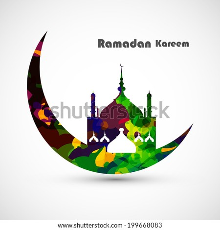 Ramadan kareem card moon concept for grungy colorful mosque and white Background vector - stock vector