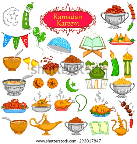 Ramadan Kareem designing object for Eid celebration in vector - stock vector