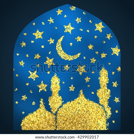 Ramadan Kareem greeting. Golden sand of stars and moon. Mosque of gold glitter particles. Vector sketch illustration. - stock vector