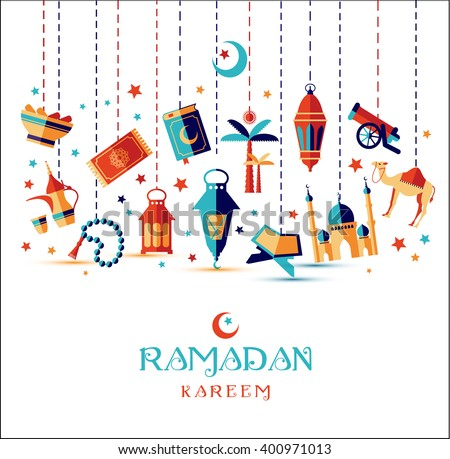 Ramadan Kareem icons set of Arabian. - stock vector