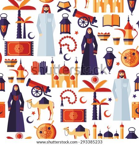 Ramadan Kareem icons set of Arabian flat design. seamless pattern. - stock vector