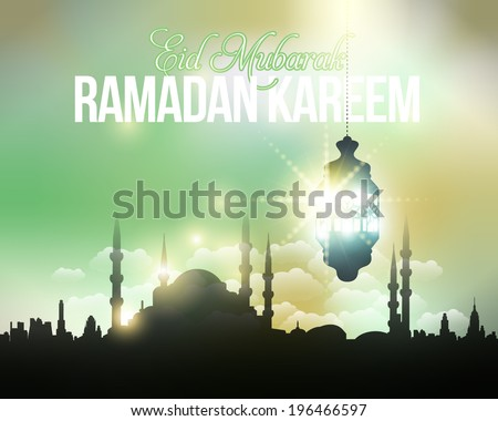 "Ramadan Kareem - Islamic Holy Nights Theme Vector Design  - Arabic ""Eid Mubarak"", ""be Blessed"" at English - stock vector"