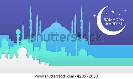 Ramadan Kareem Muslim Religion Holy Month Flat Vector Illustration - stock vector