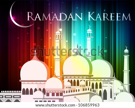 Ramadan Kareem or Ramazan Kareem background with Mosque or Masjid illustration on . EPS 10. - stock vector