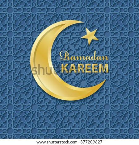 Ramadan Kareem. Ramadan Greeting Card.Vector islamic pattern,gold moon.Abstract background.Arabic motif,Geometrical ornament.Muslim Vector.Vintage wallpaper,religious Holiday Design - stock vector