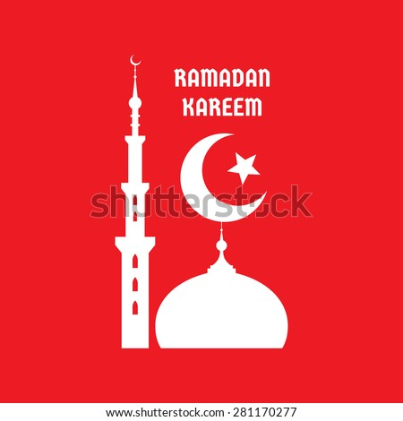 Ramadan Kareem - vector concept illustration sign on red background. Crescent moon, star, mosque, minarets vector illustration. Ramadan Mubarak greeting card. Design elements.  - stock vector