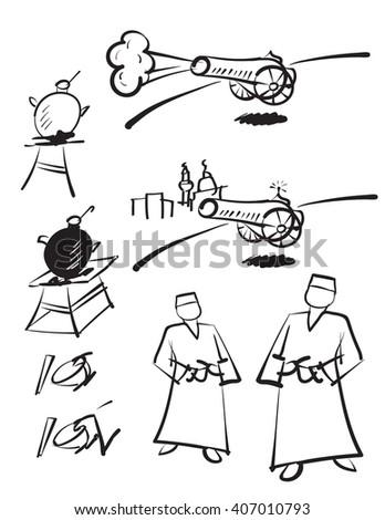 Ramadan sketches - black on white - stock vector