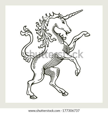 Rampant Unicorn A illustration of a rampant (standing on hind legs) unicorn - stock vector